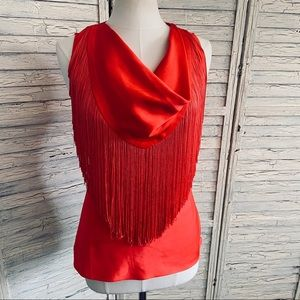Red Hot Sexy Fringe Boston Proper cowl neck Blouse